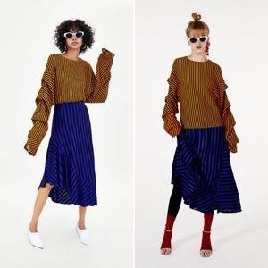 NWT Zara Trafaluc Striped Flowing Skirt